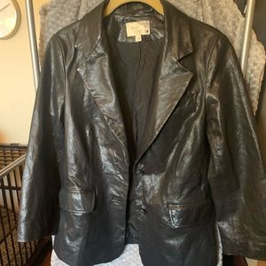 Elizabeth and James Black Leather Blazer